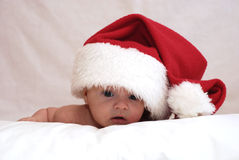 Newborn baby in the hat of the St Nicolas Royalty Free Stock Photos