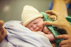 Newborn baby in the hospital Royalty Free Stock Photos