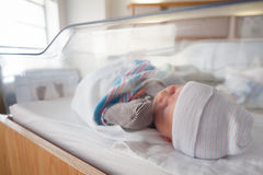 Newborn Baby in Hospital Room stock photo