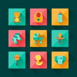 Newborn baby icons set in flat design style Royalty Free Stock Image