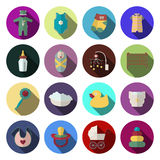 Newborn baby icons set in flat design style. Royalty Free Stock Photos