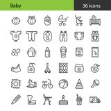 Newborn. Baby icons set. 36 flat icons. Outline. Black and white. Vector. EPS 8 Royalty Free Stock Photo