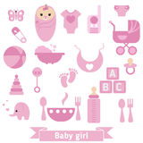 Newborn baby icons set Stock Image