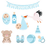 Newborn baby icons set Royalty Free Stock Photos
