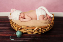 Newborn Baby in Kitten Costume. 13 day old newborn baby girl wearing a white, crocheted kitten costume and sleeping on her tummy in a basket royalty free stock images