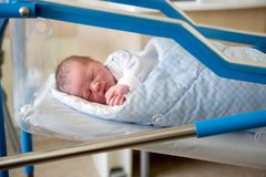 Newborn baby laying in crib in prenatal hospital. Beautiful newborn baby boy, laying in crib in prenatal hospital Stock Images