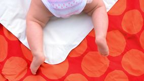 Newborn baby legs on blanket. stock footage