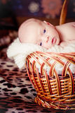 Newborn Baby Lies in basket and looks Stock Photo