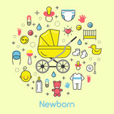 Newborn Baby Line Art Thin Icons Set with Baby Carriage Royalty Free Stock Image