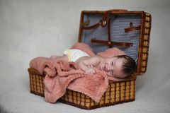 Newborn baby lying on the blanket. And sleeping Royalty Free Stock Photo