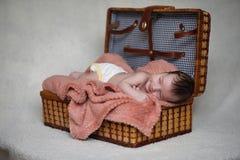 Newborn baby lying on the blanket. And sleeping Stock Photo