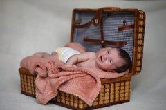 Newborn baby lying on the blanket. And sleeping Stock Photography