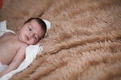 Newborn baby lying on the blanket. And sleeping Stock Photos