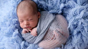 Newborn baby lying in blue fur wrapped in diaper stock footage