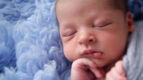 Newborn baby lying in blue fur wrapped in diaper stock video