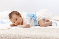 Newborn baby lying on front Royalty Free Stock Photo