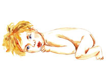 Newborn Baby lying. Hand Painted Watercolor Illustration Newborn Baby lying Stock Photos
