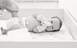 Newborn baby in maternity hospital Royalty Free Stock Image