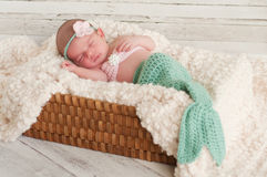 Newborn Baby in Mermaid Costume. 2 week old newborn baby girl wearing a mermaid costume that is turquoise and pink. The baby is sleeping in a basket stock images