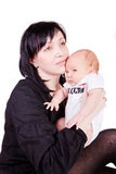 Newborn Baby with mother Stock Photo