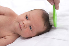 Newborn baby with mother combing Royalty Free Stock Photos