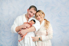 Newborn baby, mother and fathertogether. Royalty Free Stock Photography