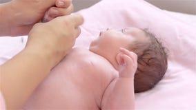 Newborn Baby oil massage stock video
