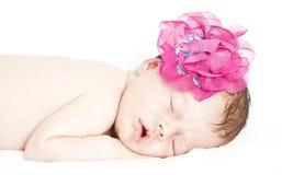 Newborn baby peacefully sleeping Stock Photos