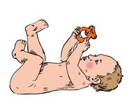 Newborn baby is playing with rattle toy. Hand drawn doodle, sketch in pop art style, vector color illustration Royalty Free Stock Image