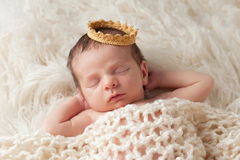 Newborn Baby with Prince's Crown Royalty Free Stock Photo
