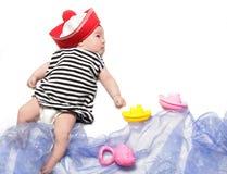 Newborn baby sailor Royalty Free Stock Photos