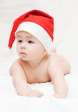 Newborn baby in Santa Claus hat Royalty Free Stock Photo