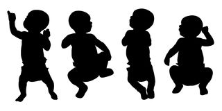 Newborn baby silhouettes set 1 Royalty Free Stock Photos