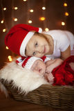 Newborn baby with sister Royalty Free Stock Images