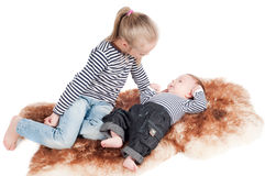 Newborn baby with sister Royalty Free Stock Photography