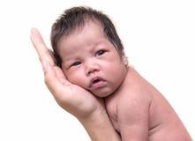 Newborn baby sleep on the hand of mother.  Royalty Free Stock Photos