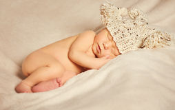 Newborn Baby Sleep, Sleeping New Born Kid in Hat Stock Photo