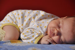 Newborn baby sleeping stock image