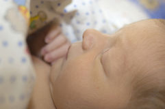 Newborn baby sleeping. Newborn baby lying in the crib and contentedly sleeping Royalty Free Stock Photography