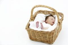 Newborn Baby Sleeping In Basket stock photo