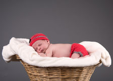 Newborn baby sleeping in a basket. Stock Photo