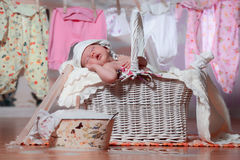 Newborn baby sleeping in a basket after washing Royalty Free Stock Image