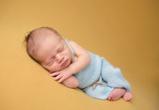 Newborn Baby Sleeping on Blanket Stock Photography