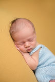 Newborn Baby Sleeping on Blanket Stock Image