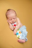 Newborn Baby Sleeping on Blanket Stock Photos