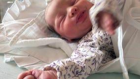 Newborn baby sleeping stock video footage