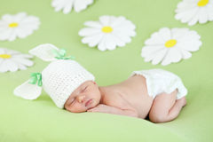 Newborn baby sleeping on green among paper daisy