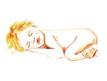Newborn Baby sleeping. Hand Painted Watercolor Illustration: Newborn Baby sleeping Royalty Free Stock Photography