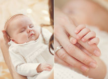Newborn baby sleeping on mother's hands. Stock Photography