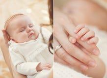 Newborn baby sleeping on mother's hands. Stock Photography